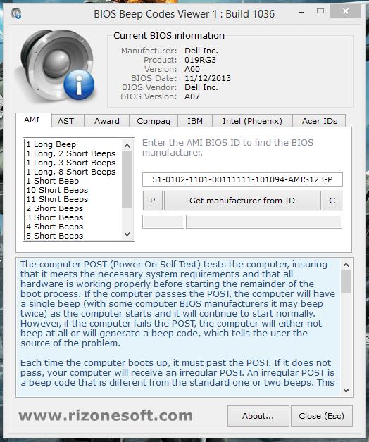BIOS Beep Codes Viewer