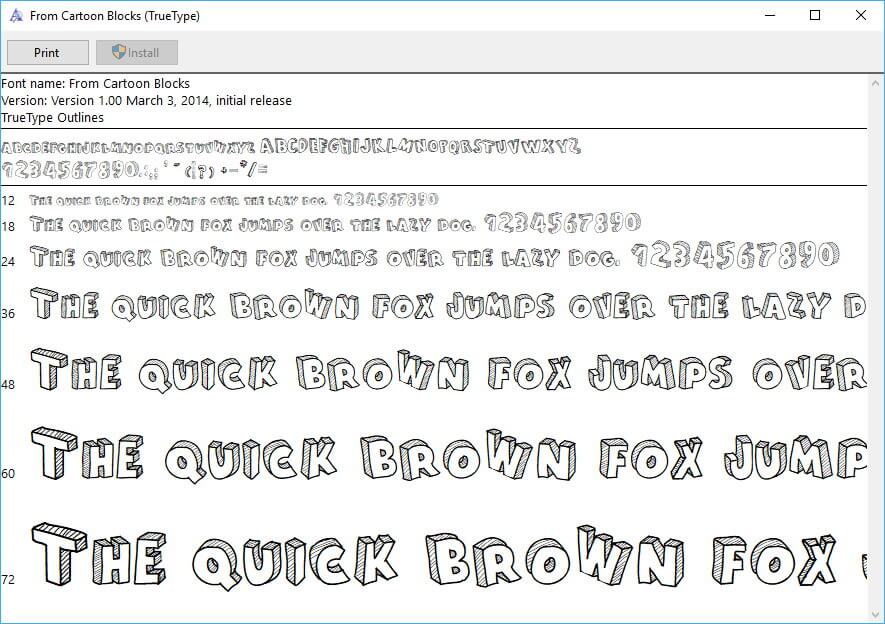 Font Preview in Windows 10