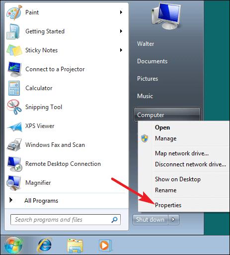 Open Windows 7 System Properties