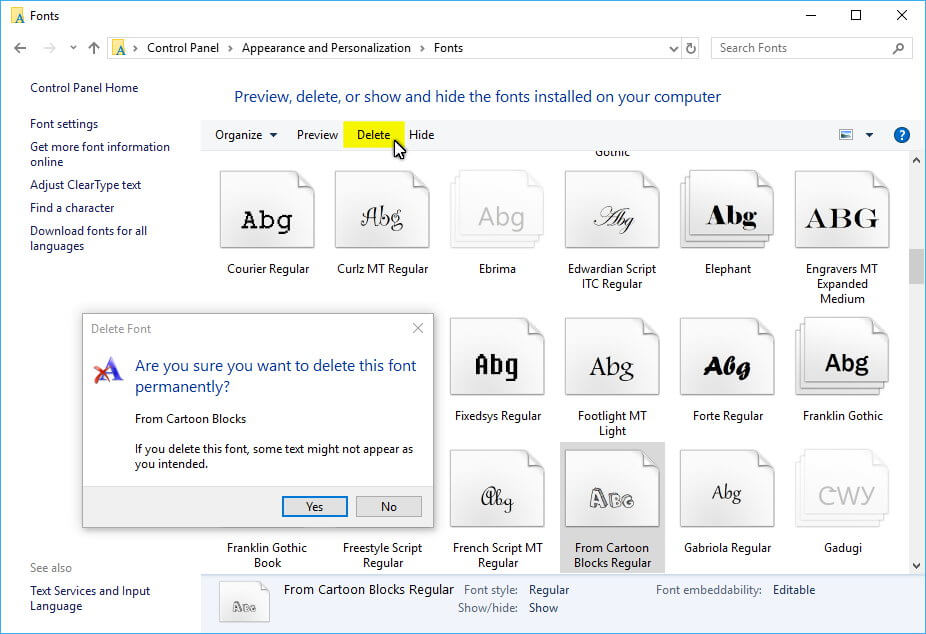 Remove Fonts in Windows 10