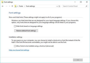 Restore Default Fonts in Windows 10