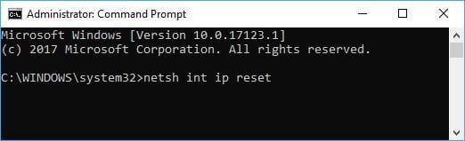 Windows 10 Reset Internet Protocol Command
