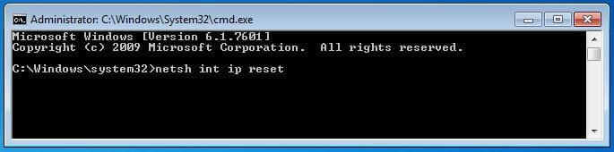 Windows 7 Reset Internet Protocol