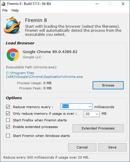 Firemin main screen with Chrome selected.